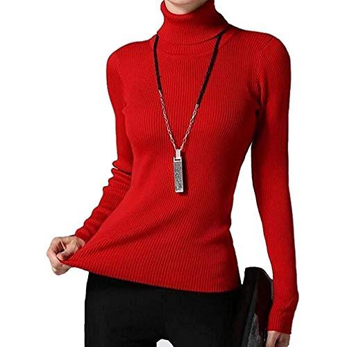 (Fengtre Women's Turtleneck Cashmere Elastic Long Sleeve Slim-fit Pullover Knit Sweater)