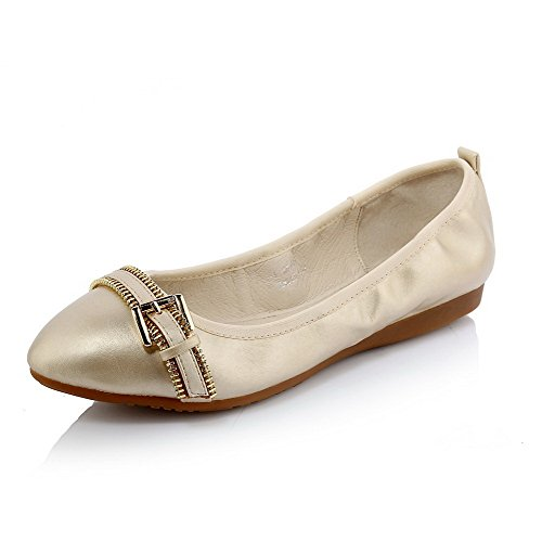 Pointed Women's Shoes Closed Low WeiPoot Gold Materials Solid on Pull Toe Blend Heels Pumps FxxZ8