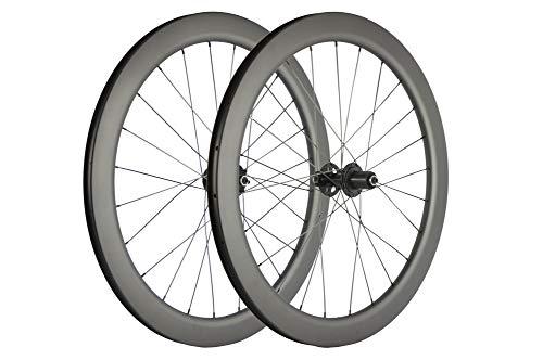 SUPERTEAM Carbon Fiber Disc Brake Wheelset 700c Road Wheel 25mm Width UD Matt 30/40/45/55mm (55mm, CX3 Hub Center Lock 12100-12142mm Thrux Axle)