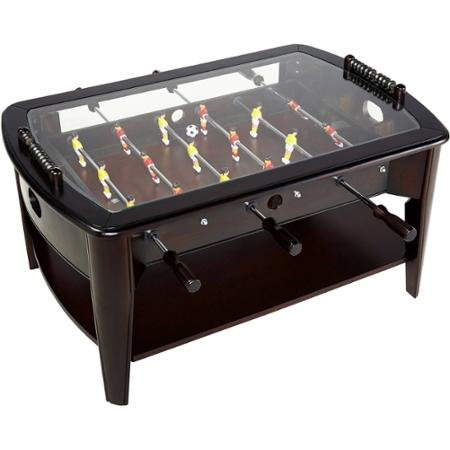 Foosball Coffee Game Wood 42'' Table Tempered Glass Top Tabletop Furniture Family Dark Brown