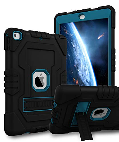 TOPSKY iPad 6th Generation Case,iPad 5th Generation Case,iPad Air Case,Heavy Duty Shockproof Rugged Full Body Hybrid Protective Cover Case for iPad 9.7 2018/2017 A1893 A1954 A1822 A1823 Black Blue