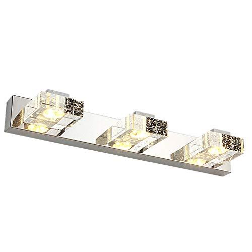 Modern LED Vanity Light Lightess 9W 3-Light 18in Long Crystal Bathroom Wall - Rectangular For Long Lighting Bathroom Mirrors