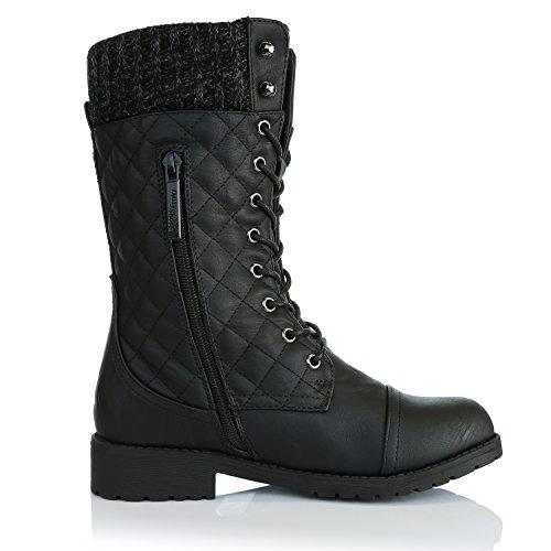 Damestassen Womens Combat Stijl Enkelknie Bootie Gewatteerde Militaire Knit Creditcard Mes Geld Portemonnee Pocket Laarzen Gewatteerde Zwarte Pu