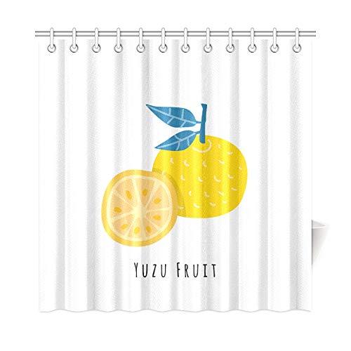 VNASKL Home Decor Bathroom Divider Curtain Yuzu Fruit Flat Cartoon Polyester Fabric Waterproof Bath Tub Shower Curtain for Bathroom 7272 Inch with Hooks ()
