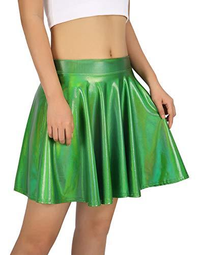 HDE Women's Shiny Liquid Metallic Holographic Pleated Flared Mini Skater Skirt (Green, Medium)