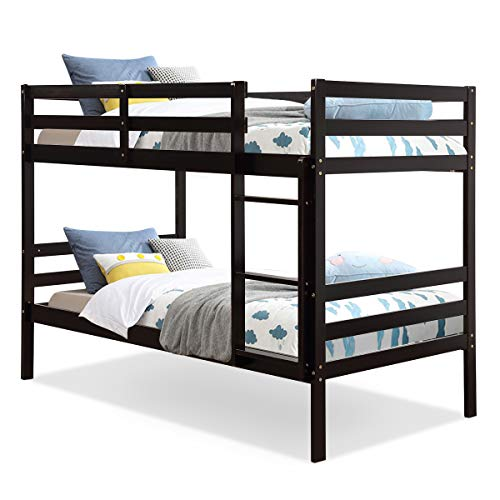 Costzon Twin Bunk Bed, Solid Hardwood Twin Over Twin Bed for Kids with Ladder and Safety Rail, Children Wooden Bunk Beds for Bedroom, Dorm, Flat w/Slats, Bedroom Furniture (Espresso)