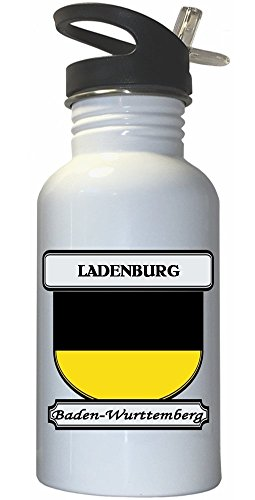 Ladenburg  Baden Wurttemberg City White Stainless Steel Water Bottle Straw Top