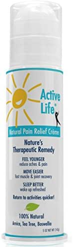 Active Life Natural Pain Relief - 5 oz Cream. All Natural Relief for Joint Pain, Muscle Soreness and Skin Irritations.