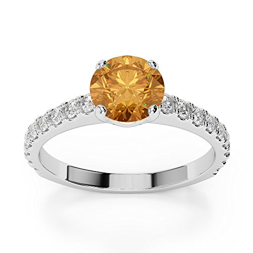 Or blanc 18carats 1CT G-H/VS sertie de diamants ronds Cut Citrine et bague de fiançailles Agdr-1201