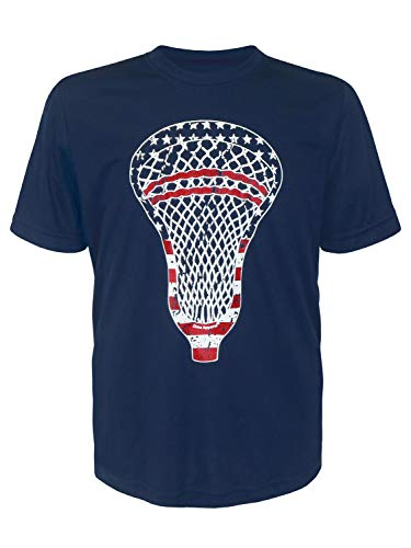 Attack Youth T-shirt - Zone Apparel Lacrosse Boy's Youth American Flag Head Performance T-Shirt X-Large Navy