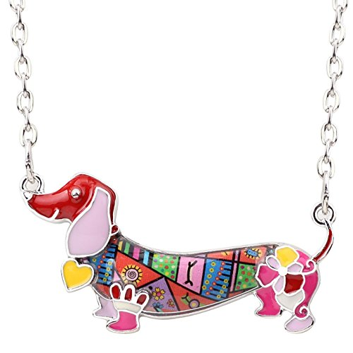 Used, BONSNY Enamel Dog Heart Pets Lover Art Dachshund Necklace for sale  Delivered anywhere in Canada