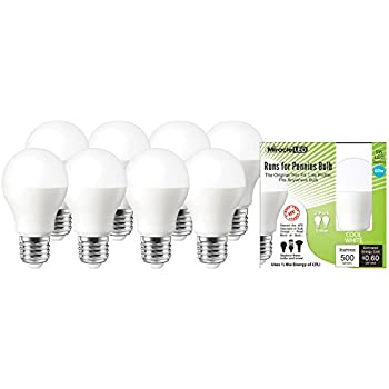 Warm White MiracleLED 604839 Perfect 60W A19 Household Replacement 5W Runs for Pennies Bulb Pack of 2