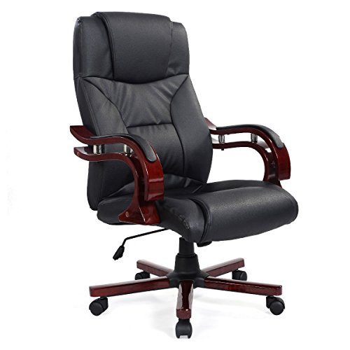 New Solid High Back Ergonomic Executive PU Leather Chair Office Desk Adjustable Chair Pneumatic Gas Seat Computer Home Office with 360 Degree Swivel Wheel