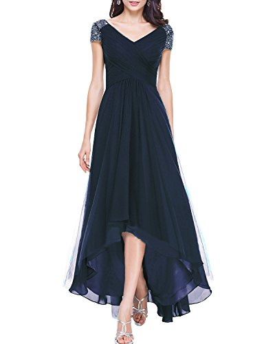 Alanre Women's V-Neck Ruched Corset Bridesmaid Dresses with Sleeves Beaded High Low Prom Dress Navy - Ruched Prom Beaded Dress