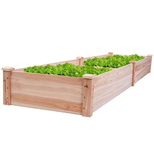 (New 8' x 2' Wood Garden Raised Bed Vegetables Planter Kit Elevated Box Flower Gardening Grow Plant Herb Cedar Outdoor Patio Backyard Pots Wooden )