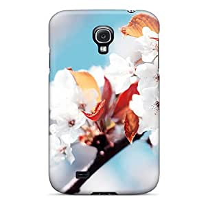 Slim Fit Tpu Protector Shock Absorbent Bumper White Flowers Case For Galaxy S4