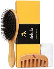 Detangling Boar Bristle Hairbrush Set. Hairbrush for Thick, Long and Curly Hair. Restores Shine and Texture to Your Hair. Wooden Comb, Travel Bag & Spa Headband Included