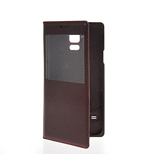 Galaxy S5 Fundas,COOLKE [Blanco] PU del tirón Funda de cuero con soporte móvil teléfono celular del bolso del caso de la cubierta para Samsung Galaxy S5 Marrón