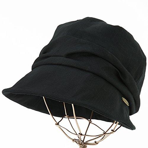 新しい形の帽子 帽子レディース大きいサイズつば広 紫外線カット日よけUV折りたたみ女優帽自転車飛ばない春夏(フリーサイズ58.5cmブラック)
