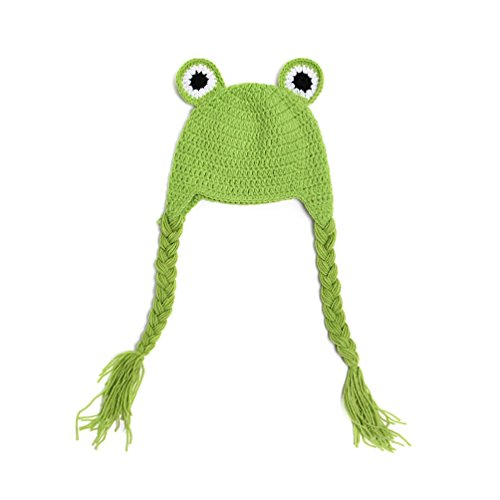 BIBITIME Newborn Baby Frog Knit Hat Braid Earflap Hat Beanie Photography Props (0-12 Month Baby: 15