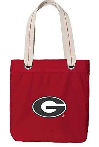 Heavyweight Canvas Log Tote - Broad Bay University of Georgia Tote Bag RICH Dye Washed RED COTTON CANVAS