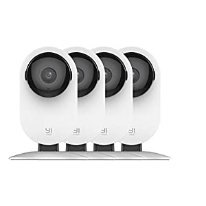 YI 4pc Home Camera, 1080p Wi-Fi IP Security Surveillance Smart System with 24/7 Emergency Response, Night Vision, Baby Monitor on iOS, Android App – Cloud Service Available