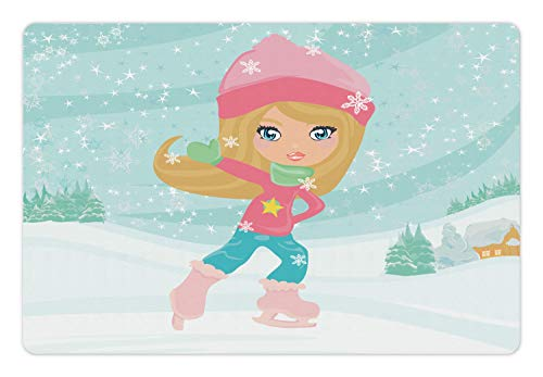 - Ambesonne Sports Pet Mat for Food and Water, Little Girl Skating on Ice in Idyllic Snow Covered Village Playroom Theme, Rectangle Non-Slip Rubber Mat for Dogs and Cats, Multicolor