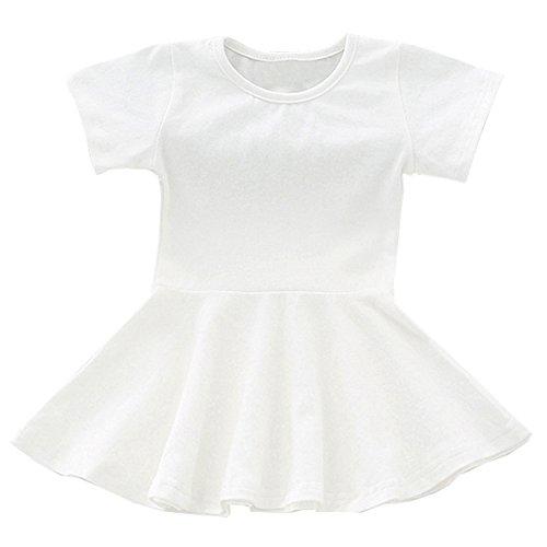 (GSVIBK Baby Girls Cotton Dress Toddler Infant Ruffles Cotton Dresses Long Sleeve Solid Ruffle Dress White 671)