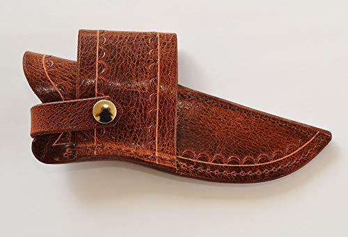 Custom Water Buffalo Antique Brown Leather Sheath for Buck 119 Knife; Cross Draw, can be Worn on Either Right or Left-Hand Side. Pliable and Durable. Knife not Included.Made in USA