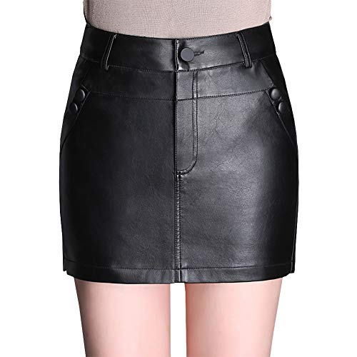 DISSA FS7957 Jupe Club Mini Short Grande Taille Cuir PU Noir