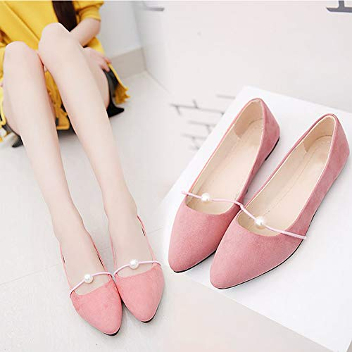 Mujeres Profundos De Transpirables Casuales Con Cómodos Cuentas Puntiagudos Tacón Gtagain Zapatos Poco Rosa Gamuza Barco Sandalias Bajo Planos qOwztngxZ