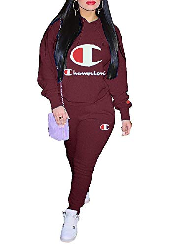 (Verchirs Womens Two Piece Outfits Letter Print Long Sleeve Hoodie Pullover and Loose Pants Set Jumpsuit Tracksuits)