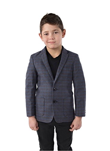 alfa perry Boys Sports Coat - Charcoal Grey Blue Checkered Slim-Fit Blazer Suit Jacket -