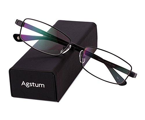 Agstum Pure Titanium Full Rim Glasses Frame Optical Eyeglasses Rxable 54mm (Black, - Men Full Glasses Frame