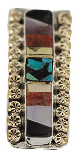 Navajo Handmade Certified Authentic .925 Sterling Silver Inlaid Natural Turquoise Mother of Pearl Spiny Oyster Black Onyx Native American Nickel and Brass Money - Oyster Inlaid Spiny