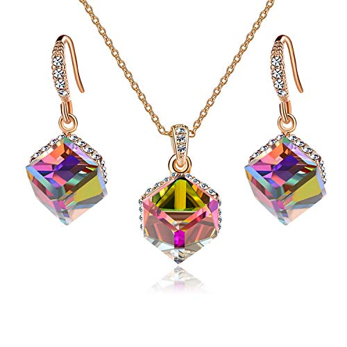 EVEVIC Colorful Cubic Swarovski Crystal Pendant Necklace Earrings Set for Women Girls 14K Gold Plated Jewelry Set (Rainbow Crystal/Rose ()