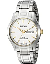 Pulsar Mens Quartz Stainless Steel Dress Watch, Color:Silver-Toned (Model: PV3015X)