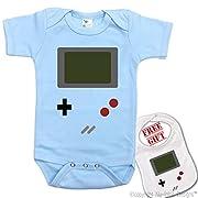 Game Boy  Custom Cute Unisex Baby bodysuit onesie & matching bib ,Igloo Design.