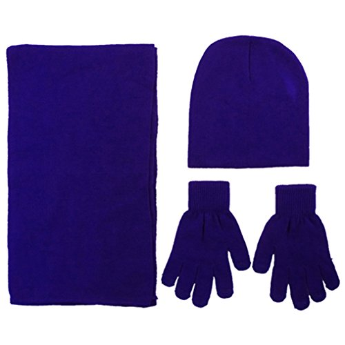 knit set, Scarf Beanie and Touchscreen Gloves, Royal (Royal Blue Winter Beanie)