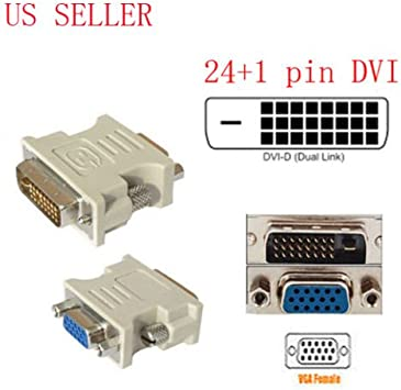 15 Pin VGA Female to 24+1 pin DVI-D Male Adapter Video Converter for PC Laptop