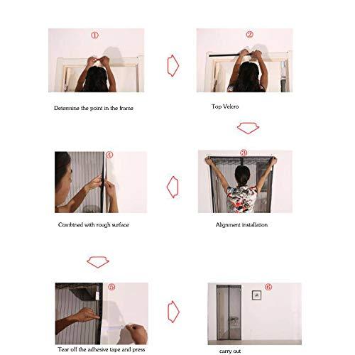 Mosquitera Puerta,Velcro de cuadro completo magn/ético de la malla puerta del velcro Cortina mosquitera magn/ética para puertas Cierre autom/ático Mudo-160x240Cm -B 63x94Pulgada