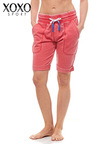 XOXO French Terry Acid Wash Bermuda Shorts Hibiscus Red S