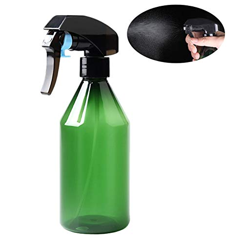 - 1 Pcs 300ML 10.2OZ Green Empty Refillalble Plastic Hairdressing Mist Spray Bottle with Hand Trigger Hand-Pressure Spray Nozzle Plant Flower Watering Barber Atomizer Sprinkle Container