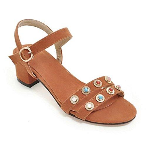 xie Scolaire Open Confortable Shopping Simple Toe 4cm Sandales 41 34 Molleton Orange Rivets 38 rw8txqrYS