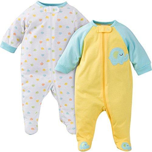 Gerber Baby Boys' 2 Pack Zip Front Sleep 'N Play, Elephant, Newborn