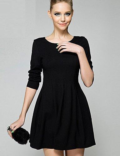 PU&PU Robe Aux femmes Patineuse Simple,Couleur Pleine Col Arrondi Au dessus du genou Polyester , black-m , black-m