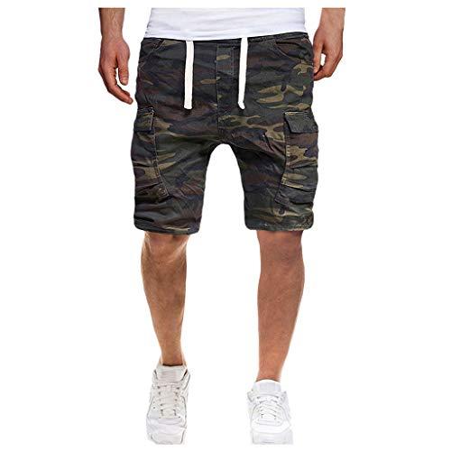 Men's Camouflage Shorts Drawstring Elastic Waist Short Pants Sweatpants Comfortable Sport Shorts Cargo Pants by Lowprofile