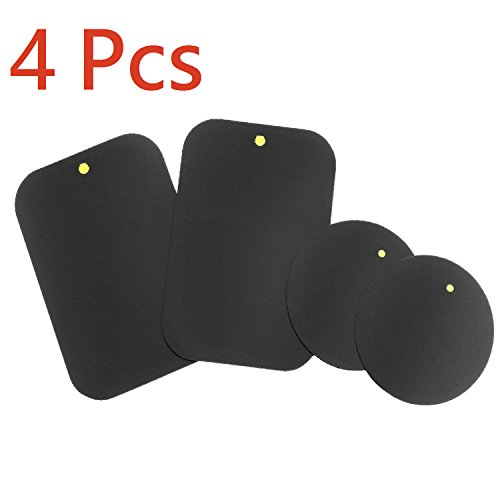 [4-Pack] Mount Metal Plate with Adhesive for Magnetic Cradle-less Mount / Magnetic Car Mount Cell Phone Holder. [X4 Pack] 2 Rectangle and 2 Round (Compatible with Magnetic mounts)