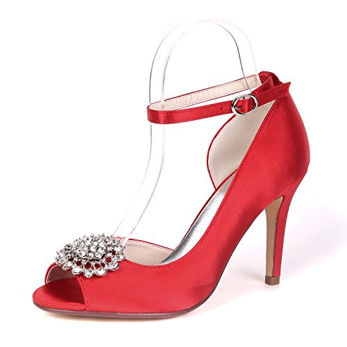 Toes Salsa 9cm Satén Del Zapatos Tacón Bajo Plataforma Mujeres Red Talones Hebilla yc Peep De Rhinestones Las Boda L vBq0fSwzx