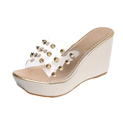 Womens Sandals ,Clode® Fashion Womens Ladies Peep Toe Rivet High Heel Wedge Slip on Slippers Flip Flops Sandals Summer Beach Shoes for Holiday Gold